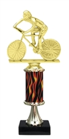 "11""+ Flame Column w/Pedestal Male Cycling Trophy"