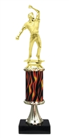 "11""+ Flame Column w/Pedestal Cricket Bowler Trophy"