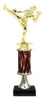 "11""+ Flame Column w/Pedestal Male Kickbox Trophy"