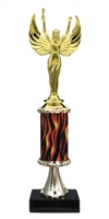 "11""+ Flame Column w/Pedestal Female Victory Trophy"