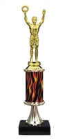 "11""+ Flame Column w/Pedestal Male Victory Trophy"