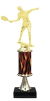 "11""+ Flame Column w/Pedestal Male Raquetball Trophy"