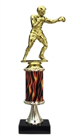 "11""+ Flame Column w/Pedestal Boxing Trophy"