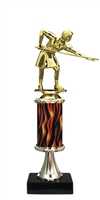 "11""+ Flame Column w/Pedestal Female Billiard - Pool Trophy"