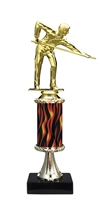 "11""+ Flame Column w/Pedestal Male Billiard - Pool Trophy"