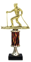 "11""+ Flame Column w/Pedestal Cross Country Ski Trophy"