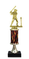 "11""+ Flame Column w/Pedestal Girl T-Ball Trophy"