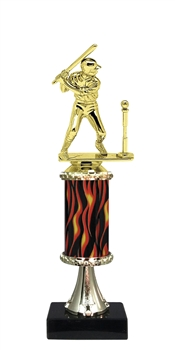 "11""+ Flame Column w/Pedestal Boys T-Ball Trophy"
