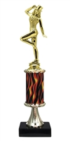 "11""+ Flame Column w/Pedestal Tap Dance Trophy"