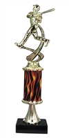 "11""+ Flame Column w/Pedestal Baseball Trophy"