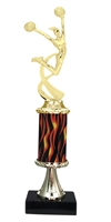 "11""+ Flame Column w/Pedestal Female Cheerleading Trophy"