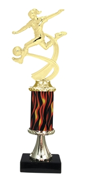 "11""+ Flame Column w/Pedestal Female Soccer Trophy"