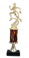 "11""+ Flame Column w/Pedestal Male Track Trophy"