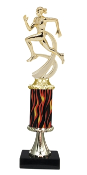 "11""+ Flame Column w/Pedestal Female Track Trophy"