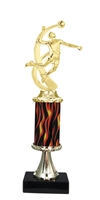 "11""+ Flame Column w/Pedestal Male Volleyball Trophy"