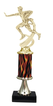 "11""+ Flame Column w/Pedestal Male Flame Football Trophy"