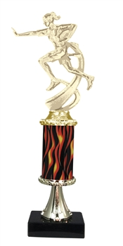 "11""+ Flame Column w/Pedestal Female Flame Football Trophy"