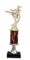 "11""+ Flame Column w/Pedestal Female Karate Trophy"