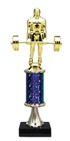 "11""+ STARBURST Column w/Pedestal Weight Lifter Trophy in 5 Colors"