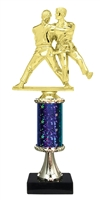 "11""+ STARBURST Column w/Pedestal Female Judo Trophy in 5 Colors"