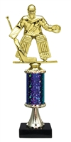 "11""+ STARBURST Column w/Pedestal Male Hockey Goalie Trophy in 5 Colors"