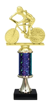 "11""+ STARBURST Column w/Pedestal Female Cycling Trophy in 5 Colors"
