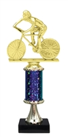"11""+ STARBURST Column w/Pedestal Male Cycling Trophy in 5 Colors"