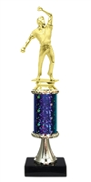 "11""+ STARBURST Column w/Pedestal Cricket Bowler Trophy in 5 Colors"