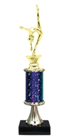 "11""+ STARBURST Column w/Pedestal Female Gymnastics Trophy in 5 Colors"