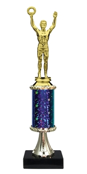 "11""+ STARBURST Column w/Pedestal Male Victory Trophy in 5 Colors"