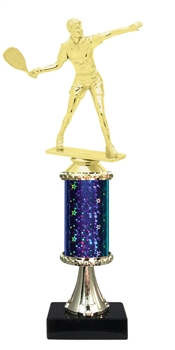 "11""+ STARBURST Column w/Pedestal Female Raquetball Trophy in 5 Colors"