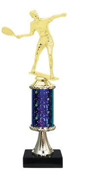 "11""+ STARBURST Column w/Pedestal Male Raquetball Trophy in 5 Colors"