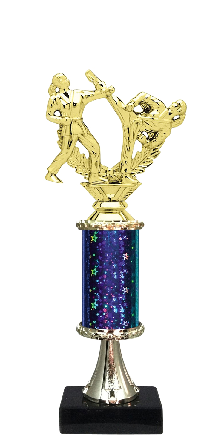 Female Martial Arts Trophy on Marble Base available in 5 Colors