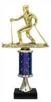 "11""+ STARBURST Column w/Pedestal Cross Country Ski Trophy in 5 Colors"