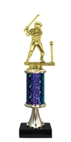 "11""+ STARBURST Column w/Pedestal Girl T-Ball Trophy in 5 Colors"