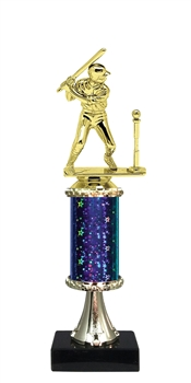 "11""+ STARBURST Column w/Pedestal Boys T-Ball Trophy in 5 Colors"