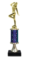 "11""+ STARBURST Column w/Pedestal Tap Dance Trophy in 5 Colors"
