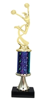 "11""+ STARBURST Column w/Pedestal Female Cheerleading Trophy in 5 Colors"