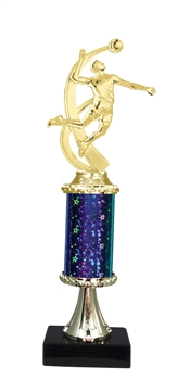 "11""+ STARBURST Column w/Pedestal Male Volleyball Trophy in 5 Colors"