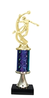 "11""+ STARBURST Column w/Pedestal Female Volleyball Trophy in 5 Colors"