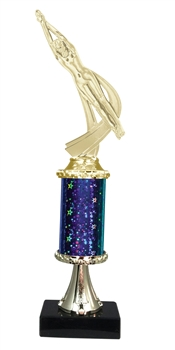 "11""+ STARBURST Column w/Pedestal Female Swimming Trophy in 5 Colors"