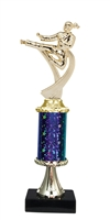 "11""+ STARBURST Column w/Pedestal Female Karate Trophy in 5 Colors"