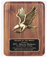 9 x 12 American Walnut Plaque with Eagle