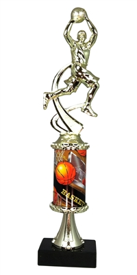 Boys Basketball Column Trophy Stem Boys Basketball