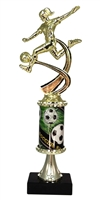 PC8 Pedestal Round Column Female Soccer Trophy