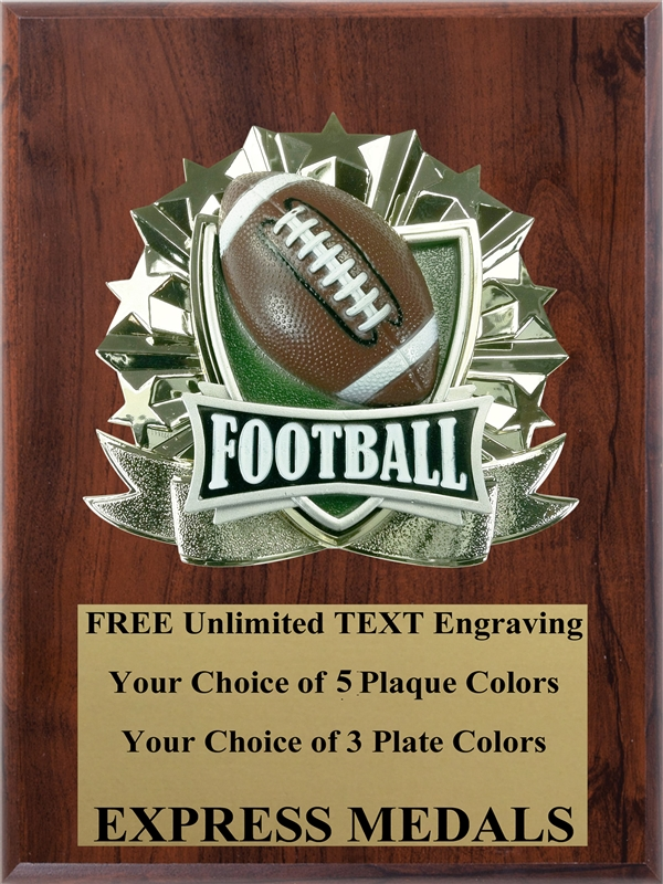 Football//Sport//Flag Award Plaque 4x6 Trophy FREE engraving