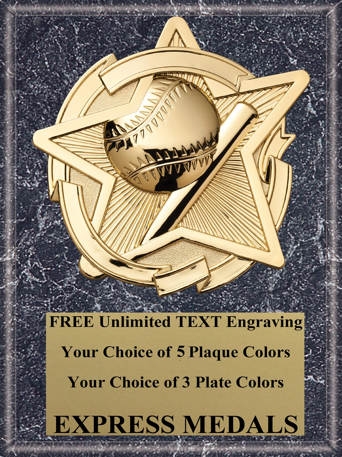 Star Baseball Plaque  (4 Sizes)