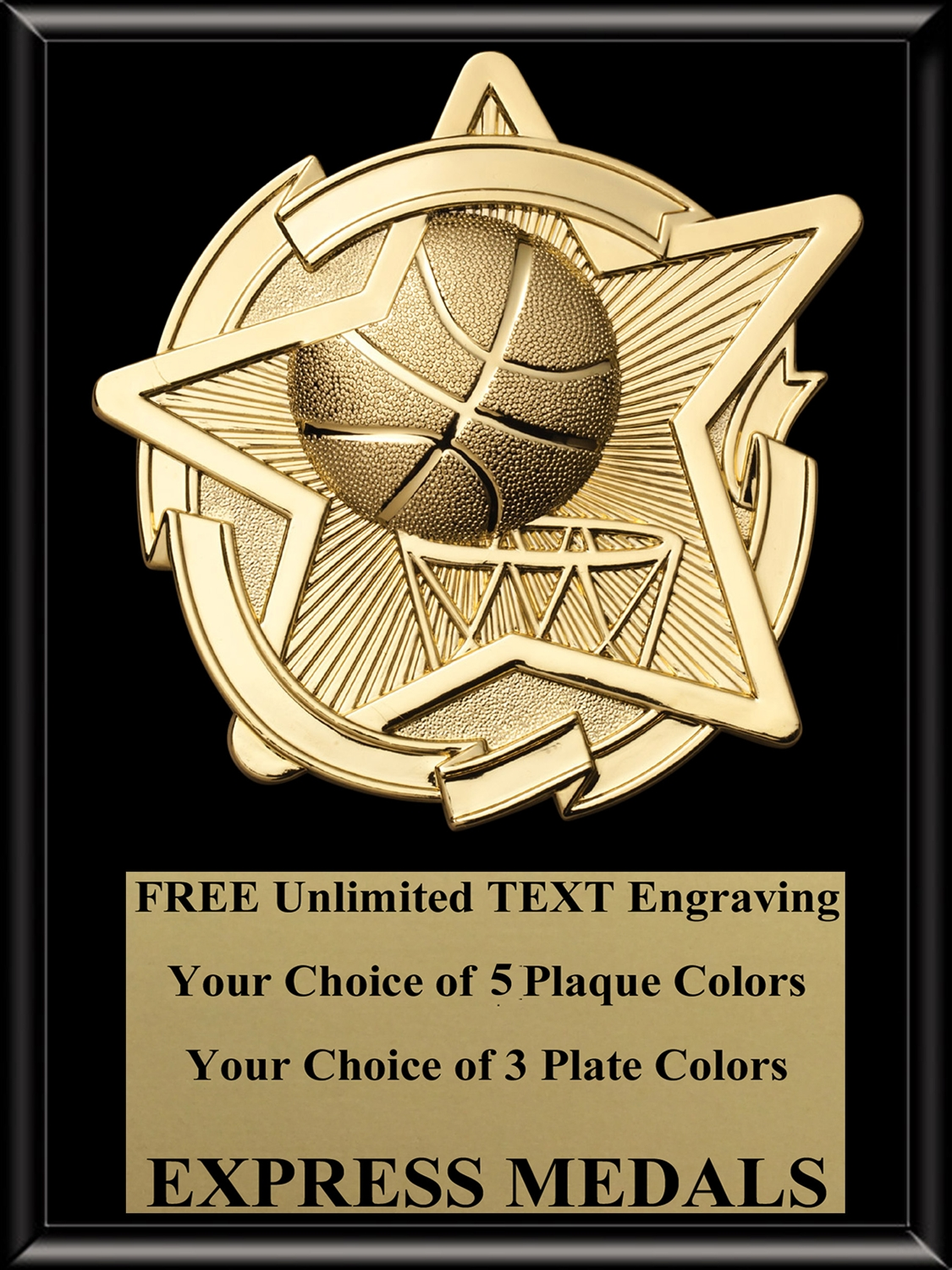Star Basketball Plaque (4 Sizes)