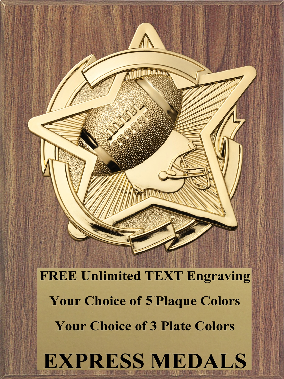 Star Football Plaque (4 Sizes)