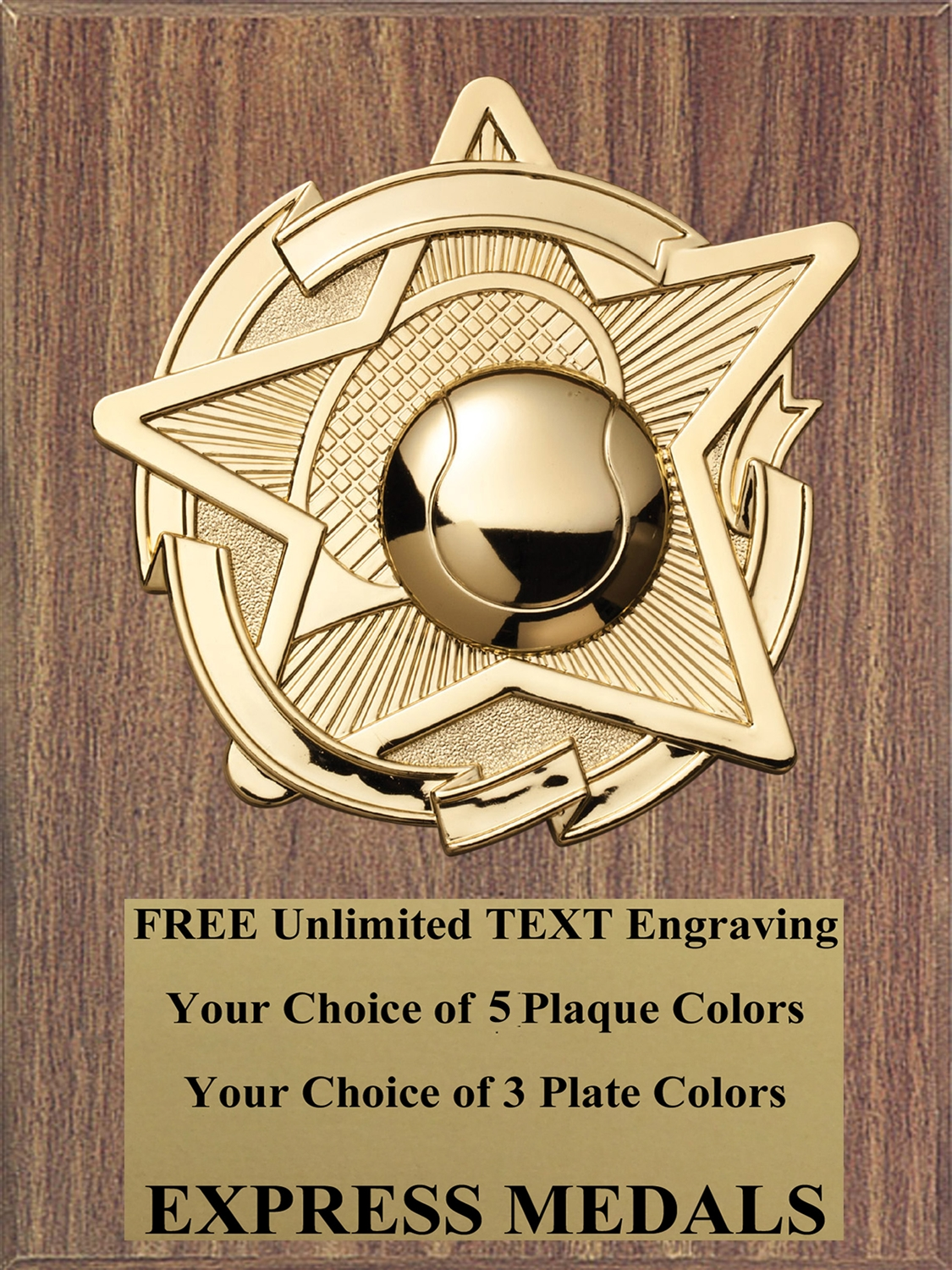 Star Tennis Plaque (4 Sizes)